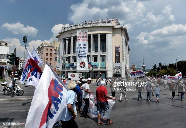 Members of the AllWorkers Militant Front a Greek trade union movement founded on the initiative of the Greek Communist Party march during a...