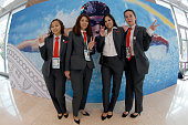Members of the Almaty 2022 Winter Olympic Games Bid Committee poses prior to their presentation during the the 128th IOC Session on July 31 2015 in...