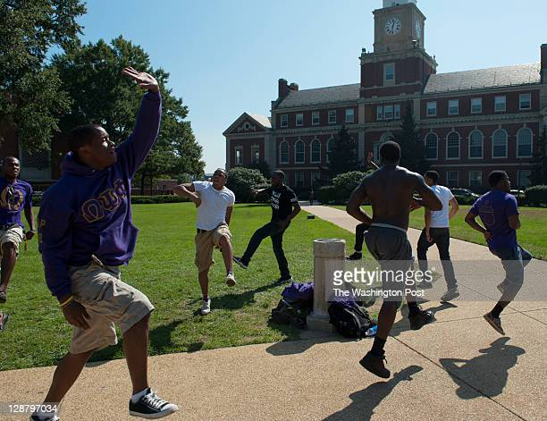 Members of the Alpha Chapter of Omega Psi Phi gather every Friday around The Dial on the campus of Howard University in Washington DC on October 07...