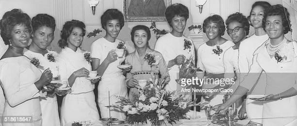 Members of the Alpha Kappa Alpha sorority at Morgan State University Baltimore Maryland March 10 1962