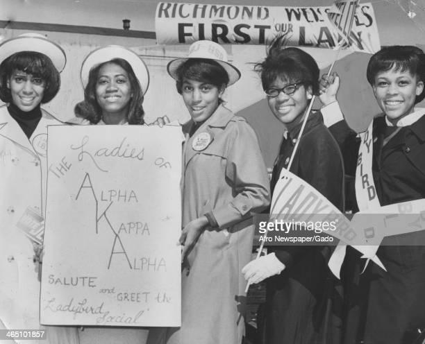Members of the Alpha Kappa Alpha sorority greet the Lady Bird Special Richmond Virginia October 15 1966