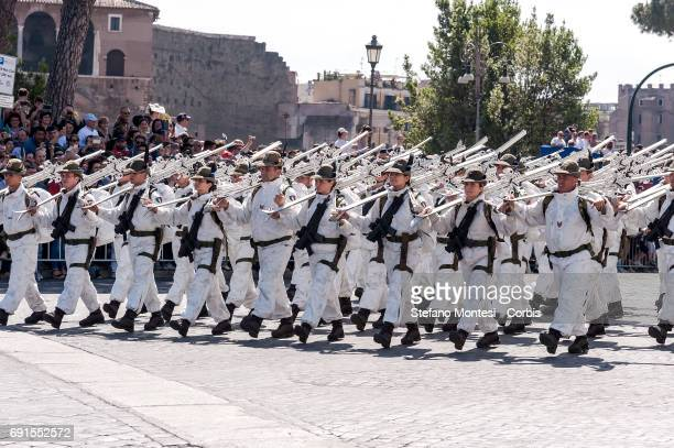 Members of the Alpine Army attend the military parade during the celebrations of the Italian Republic Day on June 2 2017 in Rome Italy