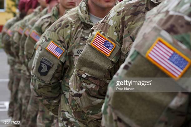 Members of the American 173rd Airborne unit stand at attention during the opening ceremony for Operation Fearless Guardian on April 20 2015 at the...
