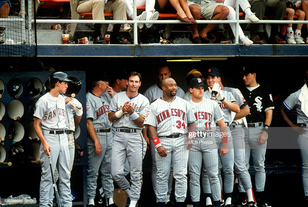 Members of the American League All-Star team are seen cheering in the dugout during the 63rd Major League Baseball All-Star Game at Jack Murphy Stadium on Tuesday, July 14, 1992 in San Diego, California.
