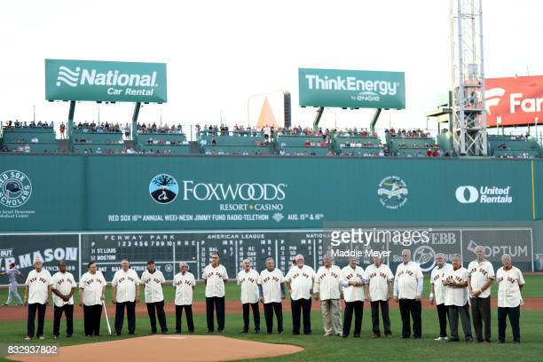 Members of the American League Champion 1967 Red Sox are acknowledged at Fenway Park before the game between the Boston Red Sox and the St Louis...