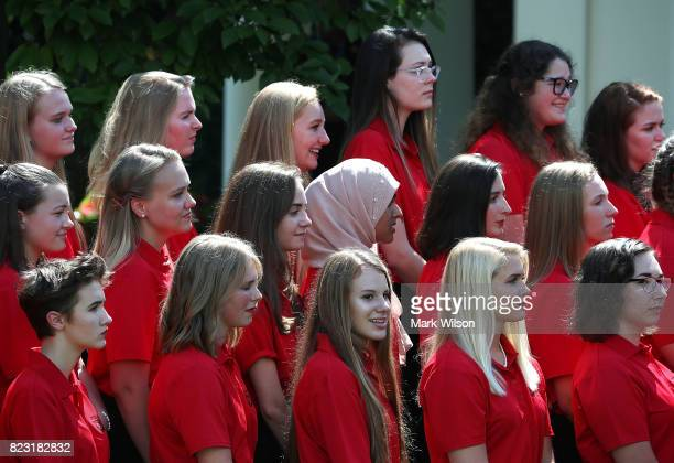Members of the American Legion Auxiliary Girls Nation listen to President Trump speak in the Rose Garden at the White House on July 26 2017 in...