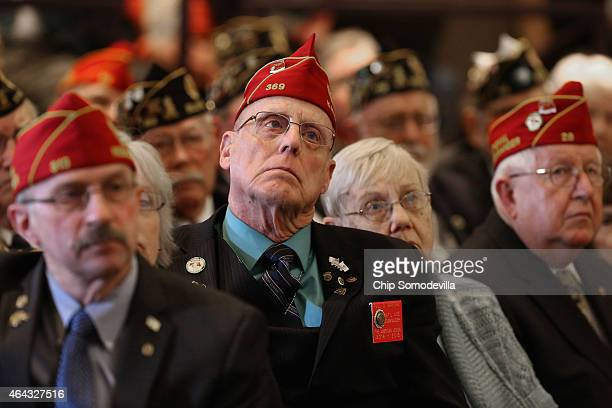 Members of the American Legion listen to US Veterans Affairs Secretary Robert McDonald apologize for misrepresenting his military record during the...