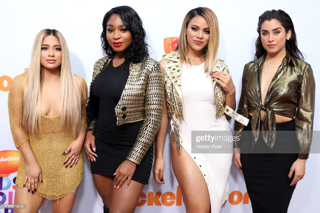 Members of the American music band Fifth Harmony pose for pictures during the Kids Choice Awards Mexico 2017 Orange Carpet at Auditorio Nacional on August 19, 2017 in Mexico City, Mexico.