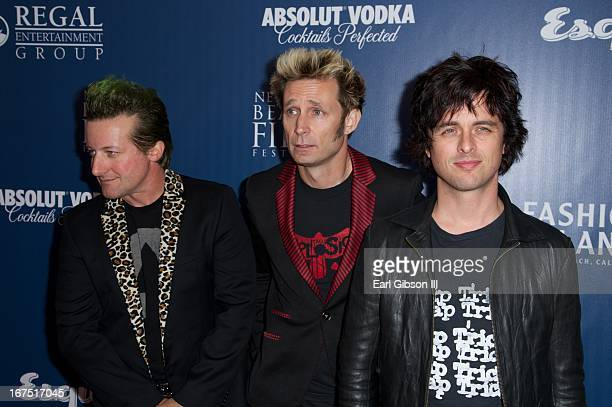 Members of the American Rock Punk Band Green Day Tré Cool Mike Dirnt and Billie Joe Armstrong attend the Opening Night Gala Premier Of 'Broadway...