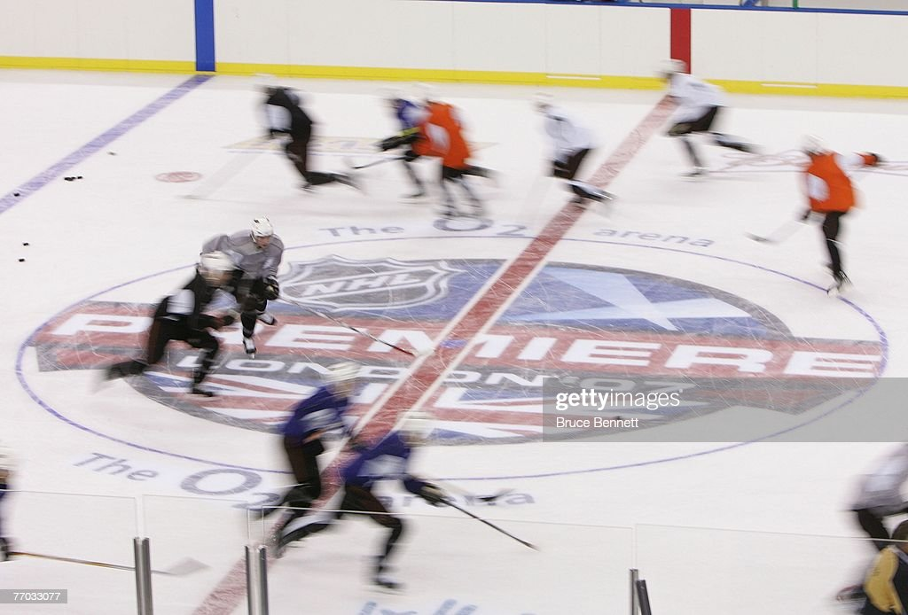 Members of the Anaheim Ducks during practice on September 26, 2007 at the O2 arena in London, England.