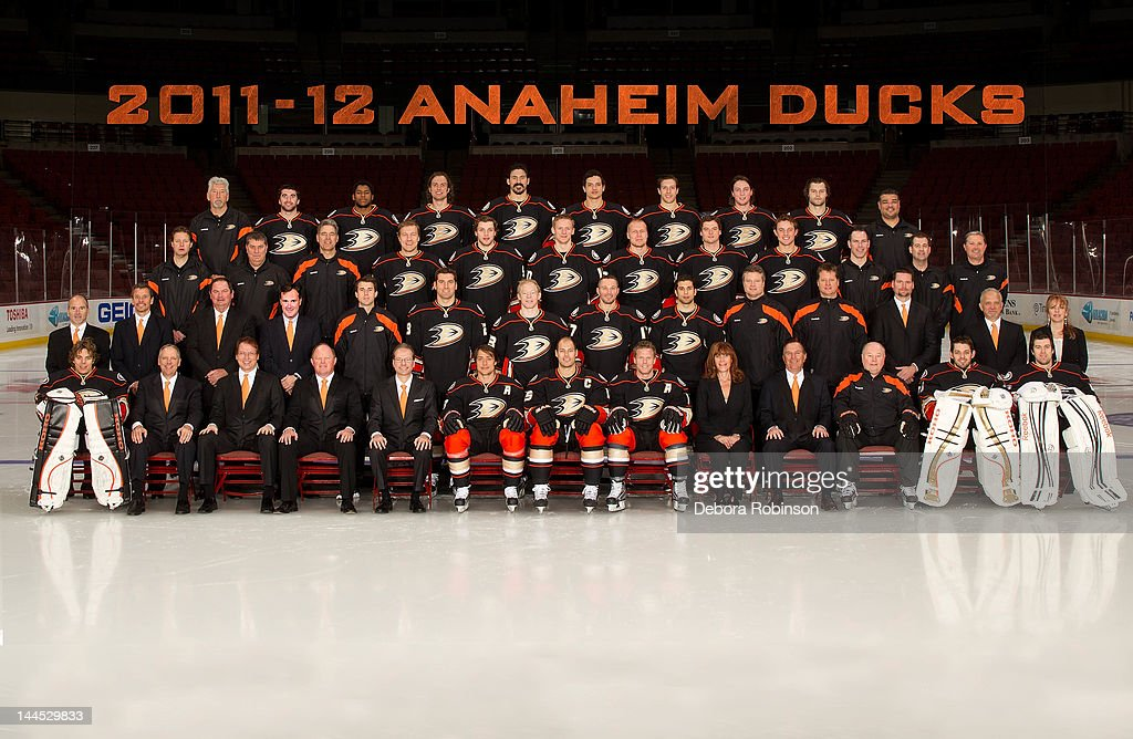 Members of the Anaheim Ducks pose for the official 2011-12 team photography at Honda Center on April 2, 2012 in Anaheim, California.