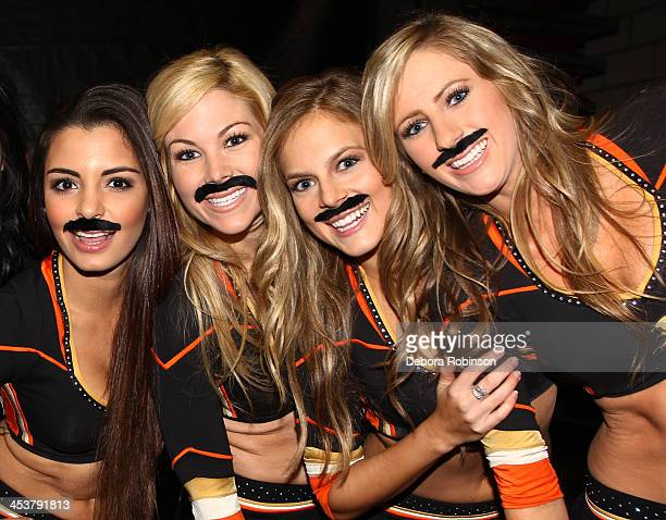 Members of the Anaheim Ducks Power Play pose for a photo during 'Movember' before the game against the Calgary Flames on November 29 2013 at Honda...
