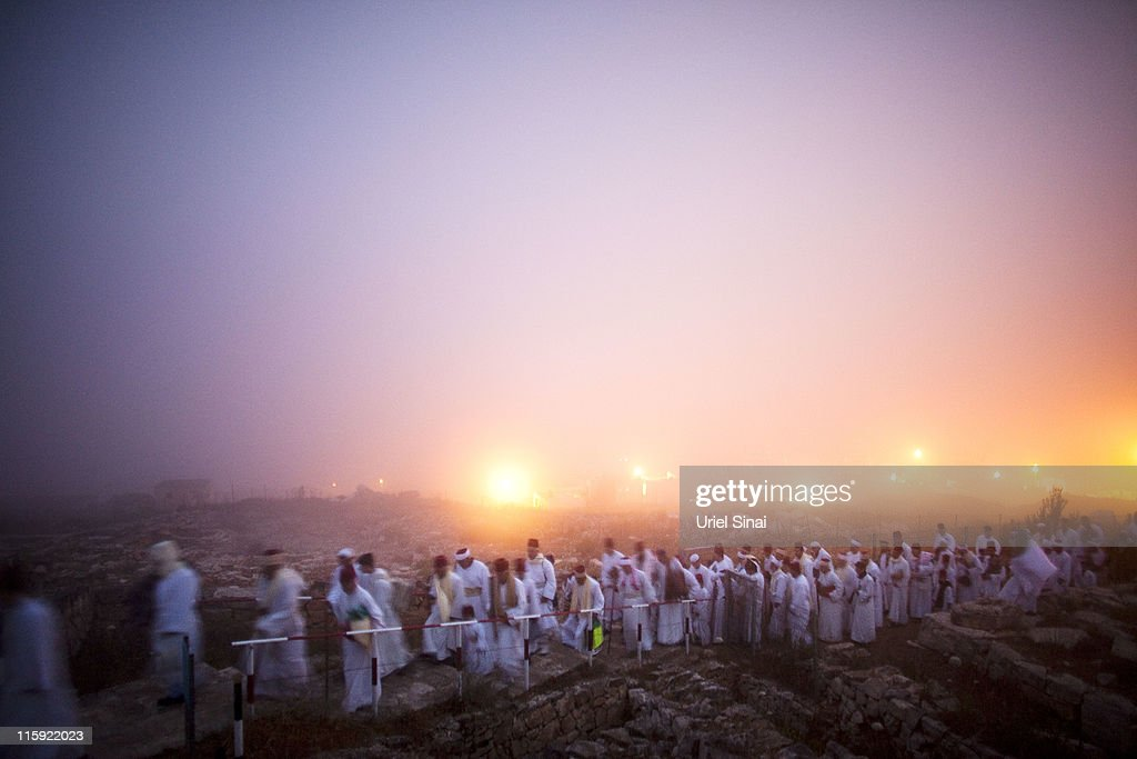Members of the Ancient Samaritan community make a pilgrimage to Mount Gerizim to mark the holy day of Shavuot, on June 12, 2011 in Nablus, West Bank. Shavuot is a Jewish religious holiday and commemorates the anniversary of the day God is said to have given the Torah to the Israelites.