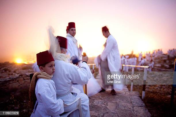 Members of the Ancient Samaritan community make a pilgrimage to Mount Gerizim to mark the holy day of Shavuot on June 12 2011 in Nablus West Bank...