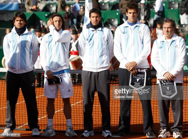 Members of the Argentine Davis Cup team Eduardo Schwank Juan Monaco Juan Ignacio Chela Juan Martin Del Potro and captain Modesto Vazquez pose for a...