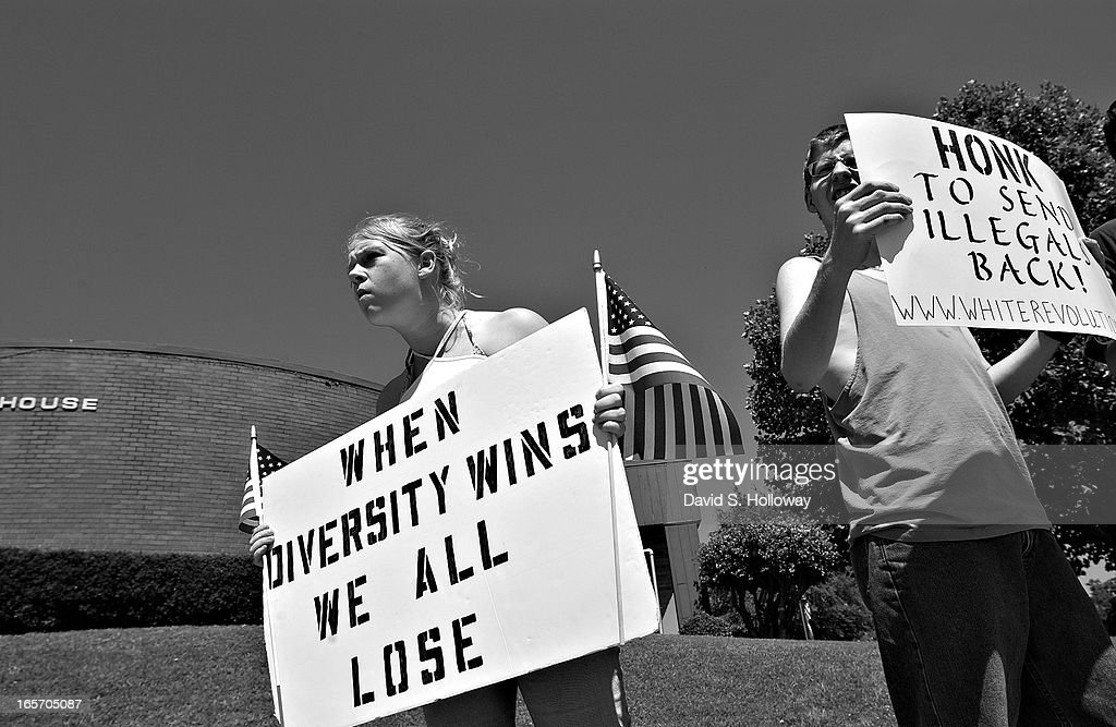 Members of the Arkansas based white pride organization 'White Revolution' meet with locals to protest illegal immigration on May 21 2005 in Danville...