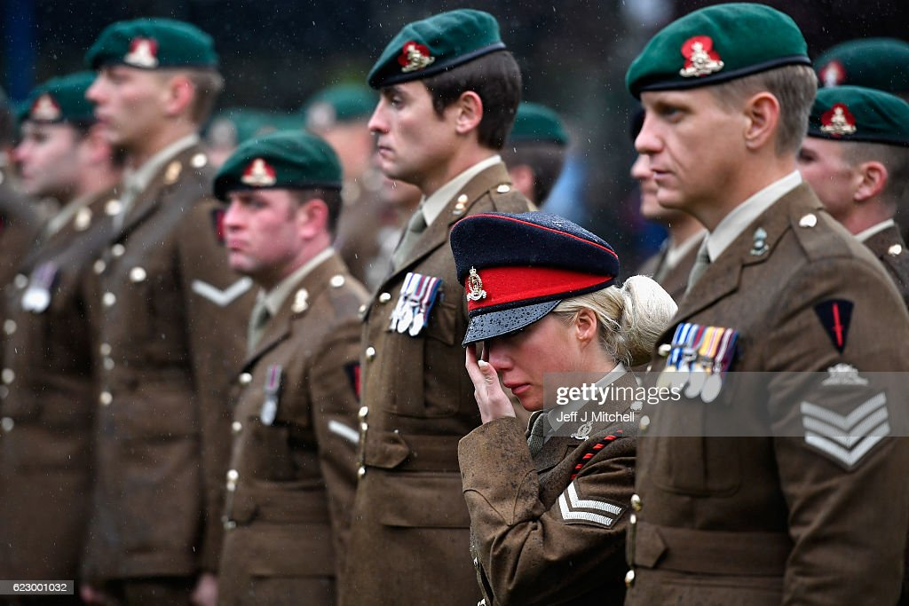 Members of the armed forces and veterans gather to commemorate and pay respect to the sacrifice of service men and women who fought in the two World Wars and subsequent conflicts on November 13 2016 in Fort William, Scotland. People across the UK gathered to pay tribute to service personnel who have died during conflicts, as part of the annual Remembrance Sunday ceremonies.