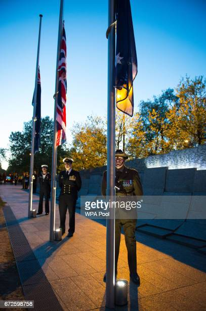 Members of the armed forces during an Anzac Day dawn service at the Australian War Memorial at Hyde Park Corner on April 25 2017 in London England...
