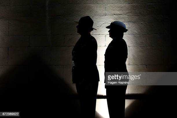 Members of the armed forces look on during Anzac Day dawn service at Pukeahu National War Memorial Park on April 25 2017 in Wellington New Zealand In...