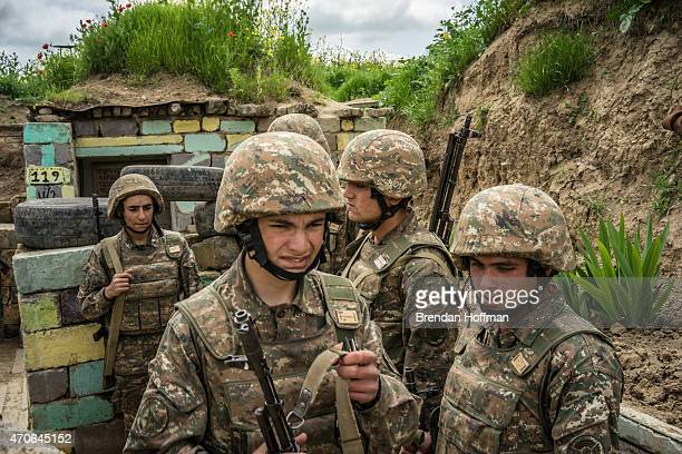 Members of the armed forces of NagornoKarabakh at their post along the line of contact with Azerbaijani forces in the eastern direction on April 21...