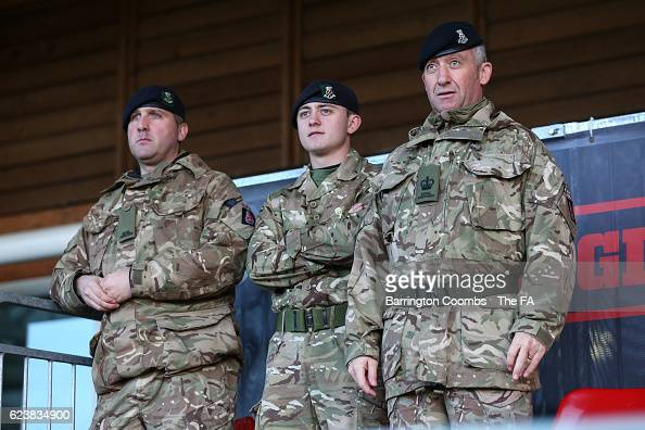 Members of the armed forces watch the Sport Remembers the Somme 19162016 match between British Army Women and German Bundeswher Women at St Georges...