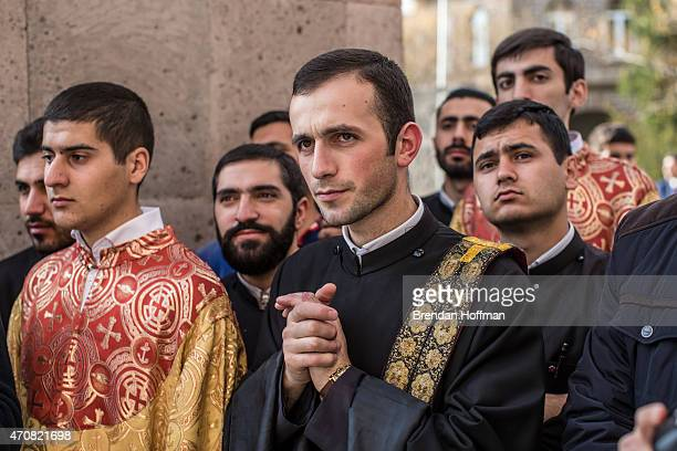 Members of the Armenian Apostolic Church attend a canonization ceremony for victims of the Armenian genocide at the Mother See of Holy Etchmiadzin a...