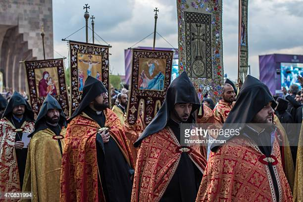 Members of the Armenian Apostolic Church participate in a canonization ceremony for victims of the Armenian genocide at the Mother See of Holy...