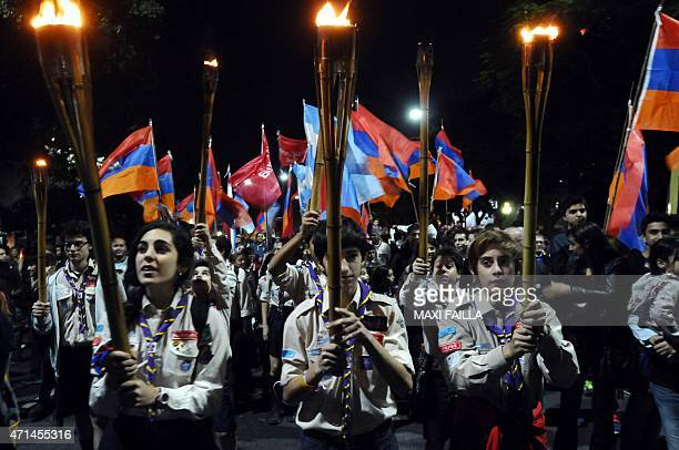 Members of the Armenian community in Argentina take part in a demo for the recognition of the Armenian genocide on April 28 2015 in Buenos Aires 2015...