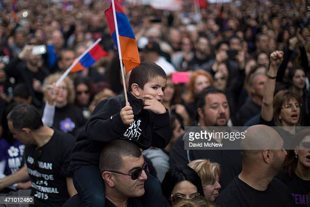 Members of the ArmenianAmerican community and activists rally near the Turkish Consulate to commemorate the 100th anniversary of the mass killings of...