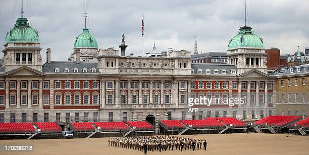 Members of the Army's Household Division practice their performance ahead of the London's Military Music Spectacular in Horse Guard Parade in central...