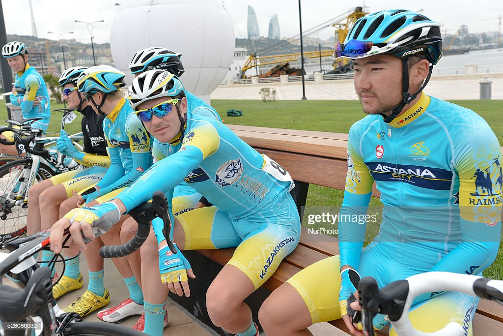 Members of the Astana City team ahead of the opening stage of the 5th Tour d'Azerbaijan 2016, Baku to Sumqayitl Stage (153.5 km). Sumqayitl, Azerbaijan, on Wednesday, 4 May 2016.