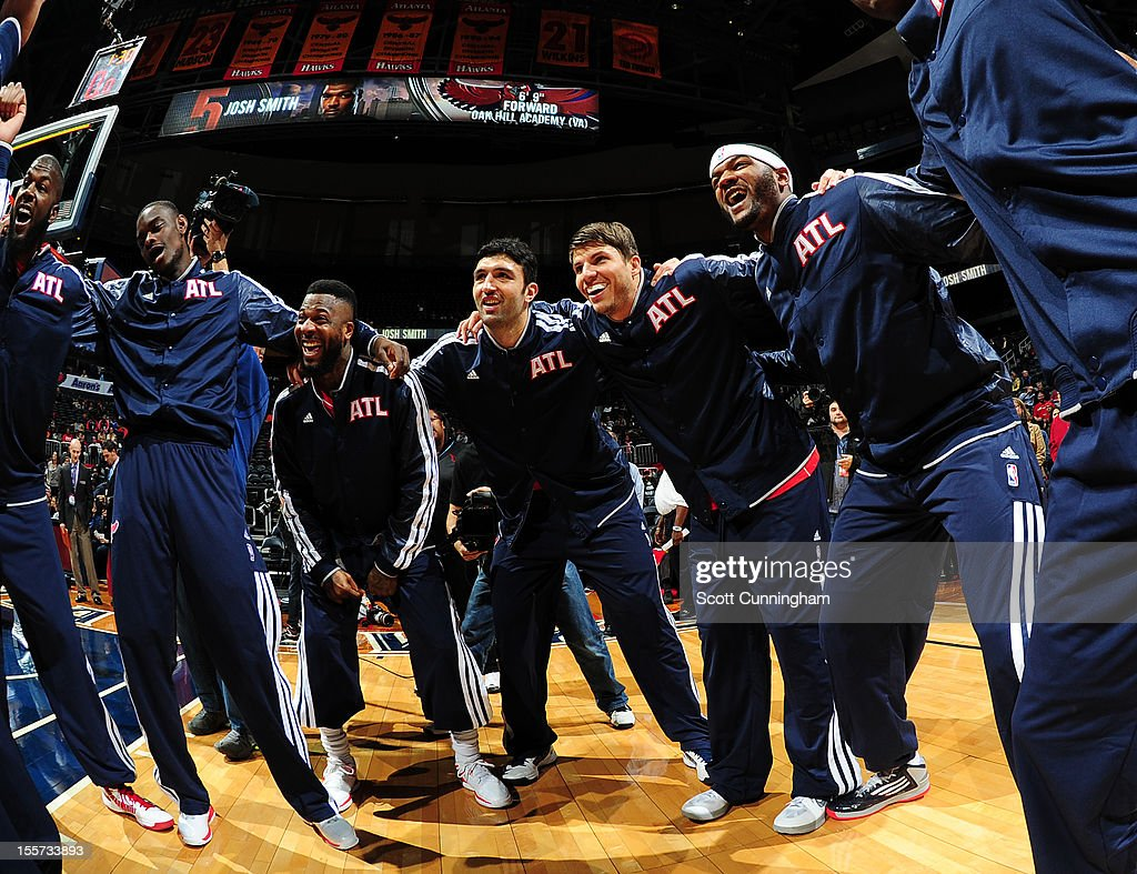 Members of the Atlanta Hawks get pumped up before a game against the Indiana Pacers at Philips Arena on November 7, 2012 in Atlanta, Georgia.