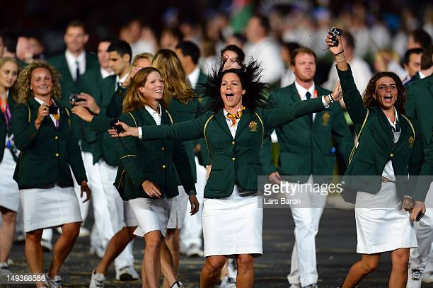 Members of the Australia team parde into the stadium during the Opening Ceremony of the London 2012 Olympic Games at the Olympic Stadium on July 27...
