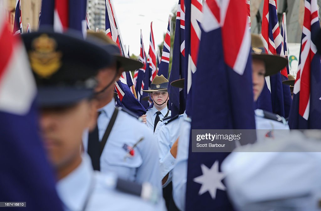 Members of the Australian Air Force Cadets hold Australian flags as they march during the annual Anzac Day march on April 25, 2013 in Melbourne, Australia. Veterans, dignitaries and members of the public today marked the 98th anniversary of ANZAC (Australia New Zealand Army Corps) Day, April 25, 1915 when allied Australian and New Zealand First World War forces landed on the Gallipoli Peninsula. Commemoration events are held across both countries in remembrance of those who fought and died in all wars.
