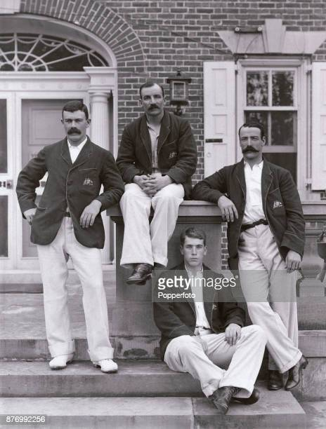 Members of the Australian cricket team during their Tour of the USA at the Manheim Ground in Philadelphia circa 1896 Left to right Joe Darling George...