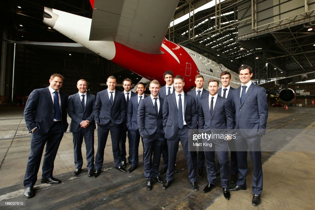 Members of the Australian cricket team pose in front of a Qantas A380 during the Cricket Australia Ashes official team farewell at Sydney International Airport on May 22, 2013 in Sydney, Australia.