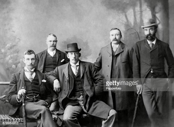 Members of the Australian cricket team posing with their hosts in Vancouver at the conclusion of their Tour of USA and Canada circa 1893 Seated left...