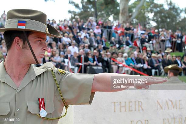 Members of the Australian Defence Force at the Remembrance Day Commemoration Service at the Australian War Memorial on November 11 2011 in Canberra...