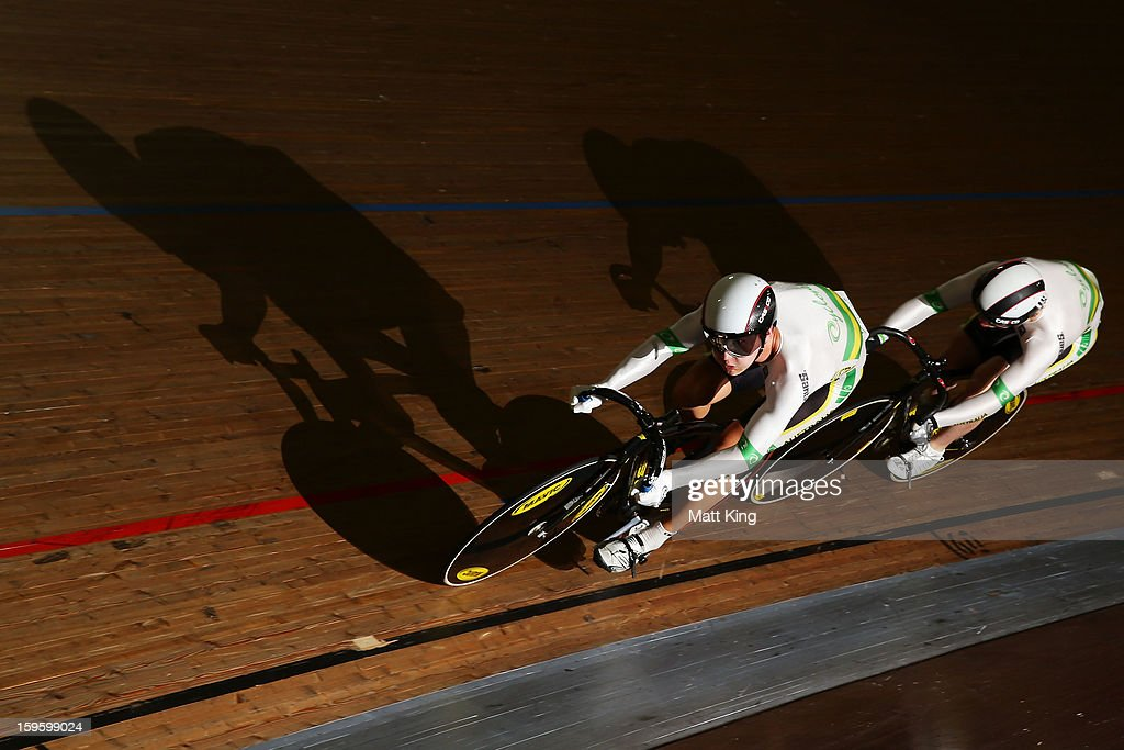 Members of the Australian Gold team compete in the Men's U19 Team Sprint Qualification during day two of the 2013 Australian Youth Olympic Festival at Dunc Gray Velodrome on January 17, 2013 in Sydney, Australia.