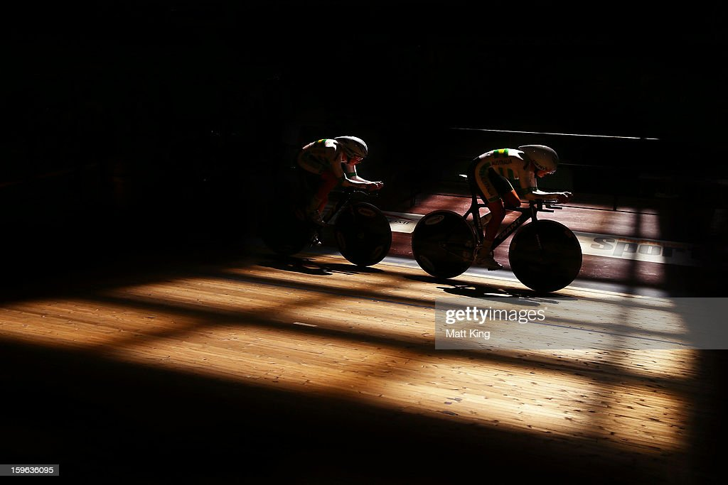 Members of the Australian Gold team compete in the Men's U19 Team Sprint Final during day two of the 2013 Australian Youth Olympic Festival at Dunc Gray Velodrome on January 17, 2013 in Sydney, Australia.