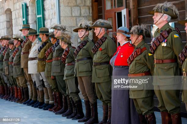 Members of the Australian Light Horse unit attend a memorial ceremony on October 23 2017 for fighters from the Australian and New Zealand Army Corps...