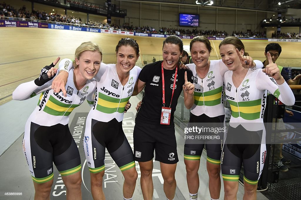 Members of the Australia's team, <a gi-track='captionPersonalityLinkClicked' href=/galleries/search?phrase=Annette+Edmondson&family=editorial&specificpeople=4872666 ng-click='$event.stopPropagation()'>Annette Edmondson</a> (L), Melissa Hoskins (2ndL), Ashlee Ankudinoff (2ndR) and <a gi-track='captionPersonalityLinkClicked' href=/galleries/search?phrase=Amy+Cure&family=editorial&specificpeople=5663459 ng-click='$event.stopPropagation()'>Amy Cure</a> (R) celebrate after winning the Women's Team Pursuit Finals at the UCI Track Cycling World Championships in Saint-Quentin-en-Yvelines, near Paris, on February 19, 2015.