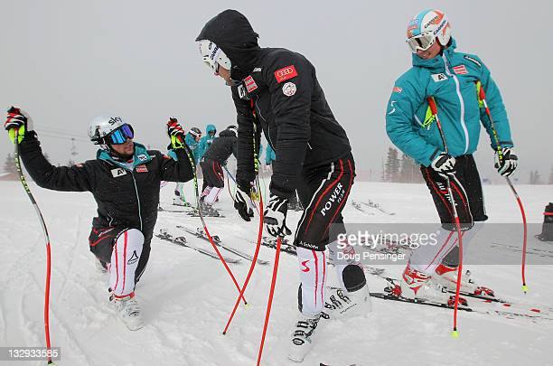 Members of the Austrian Men's Alpine Ski Team warm up as they prepare to train at the US Ski Team Speed Center at Copper on November 15 2011 in...