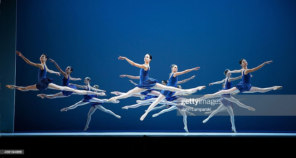 Members of the ballet troupe perform during The Mikhailovsky Ballet of St Petersburg's 'Class Concert' Dress Rehearsal at David H Koch Theater at...