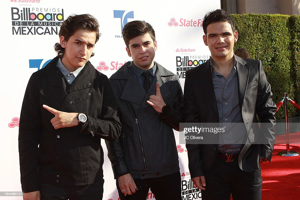 Members of the band 3BallMTY attend the 2012 Billboard Mexican Music Awards at The Shrine Auditorium on October 18, 2012 in Los Angeles, California.