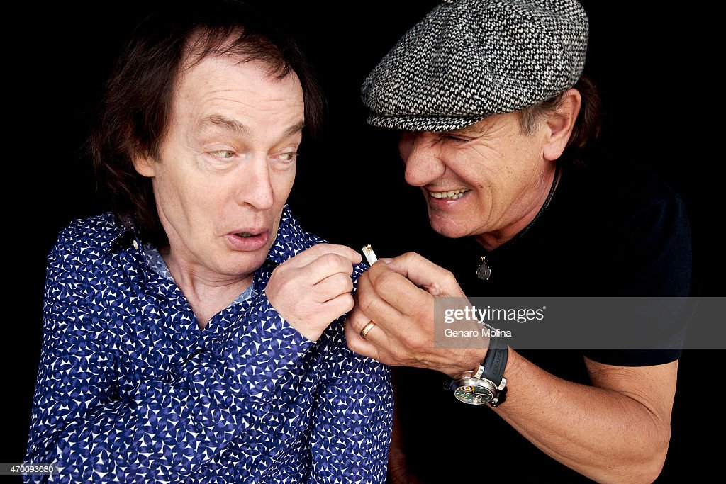 Members of the band AC/DC Brian Johnson, Angus Young, and Cliff Williams are photographed for Los Angeles Times on April 7, 2015 in Beverly Hills, California. PUBLISHED IMAGE.