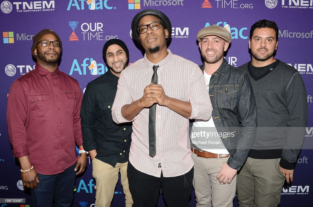 Members of the band Bad Rabbits attend the Inaugural Youth Ball hosted by OurTime.org at Donald W. Reynolds Center on January 19, 2013 in Washington, United States.