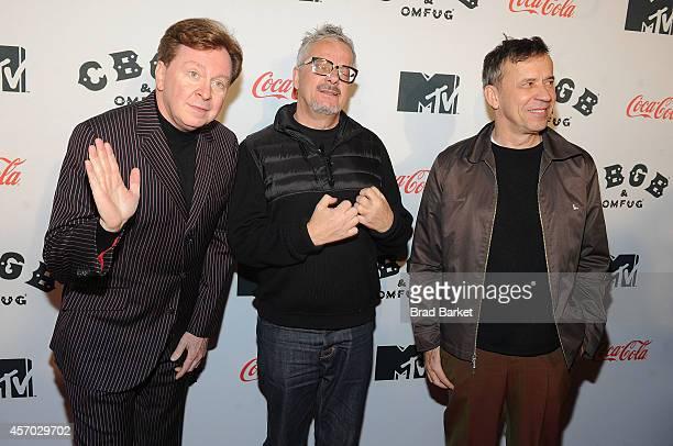 Members of the band Devo Gerald Casale Mark Mothersbaugh and Bob Mothersbaugh attend the 'Hardcore Devo Live' premiere at the CBGB Music Film...