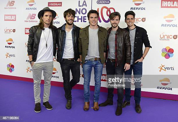 Members of the band Dvicio attend the 'Cadena 100 Por Etiopia' concert photocall at the Barclaycard Center on March 21 2015 in Madrid Spain