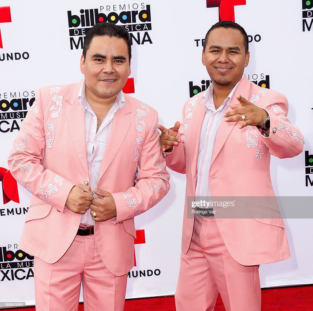 Members of the band El Trono de Mexico attend the 2013 Billboard Mexican Music Awards arrivals at Dolby Theatre on October 9, 2013 in Hollywood, California.